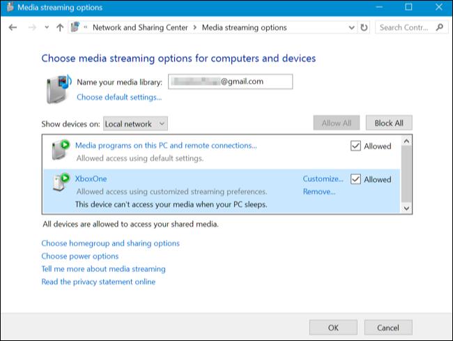 Choose media streaming options
