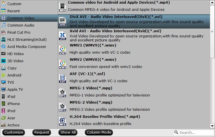 Output Divx player native supported format
