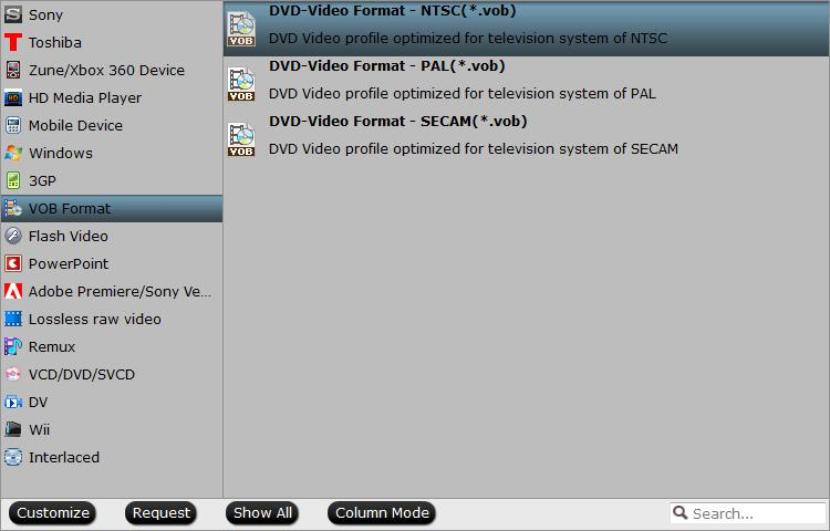 Output DVD Video VOB format