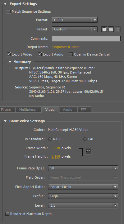 Adobe Premiere Pro 4K export settings