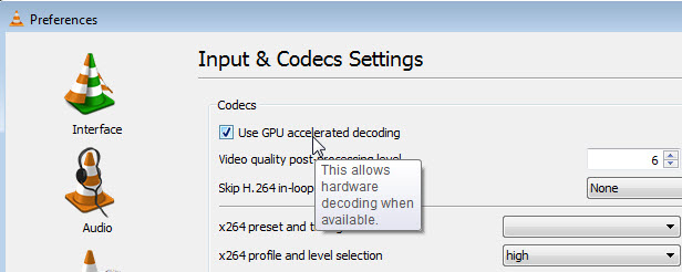VLC uses hardware accelerated decoding