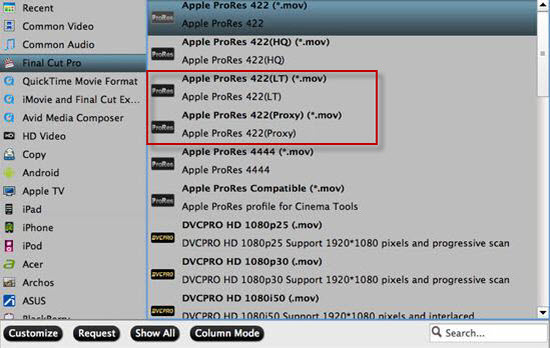 Output Apple Prores 422 Proxy or LT format