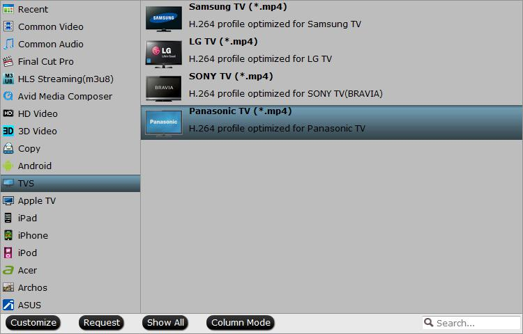Output Panasonic TV preset playable formats