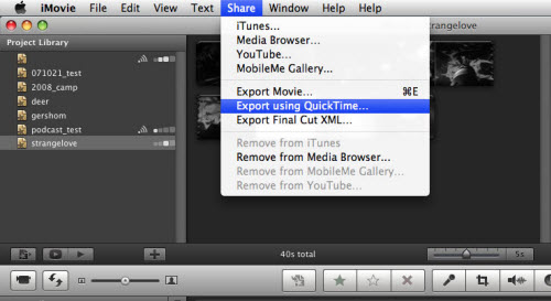 Export iMovie Project to MP4