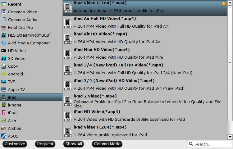 Output iPad Preset profile format
