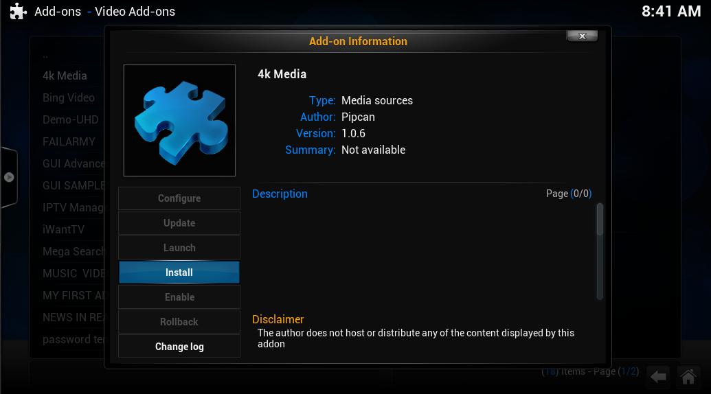 Install 4K media add-ons for Kodi