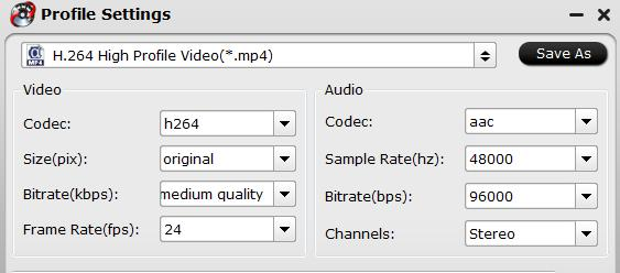 Tweak output profile parameters for Vimeo uploading