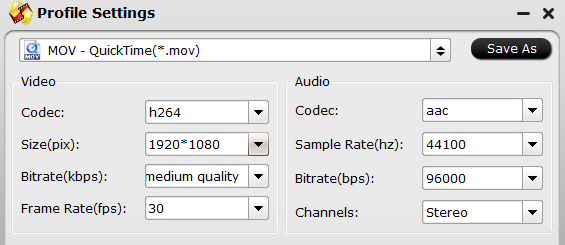 Adjust output codec and resolution