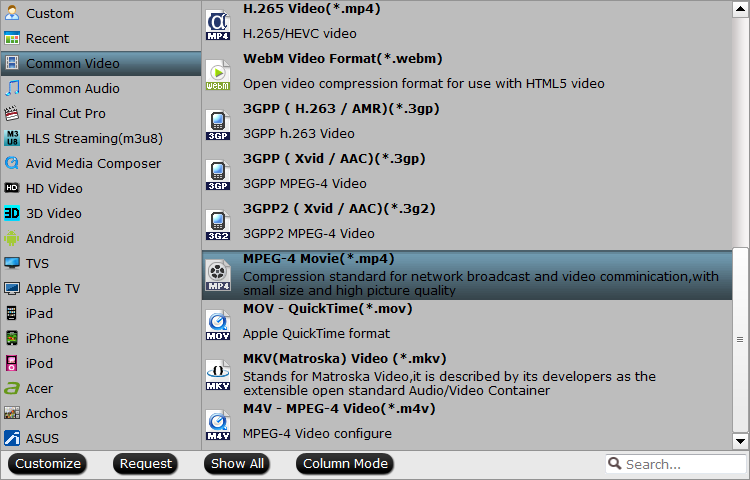 Output WD TV Mini supported file formats