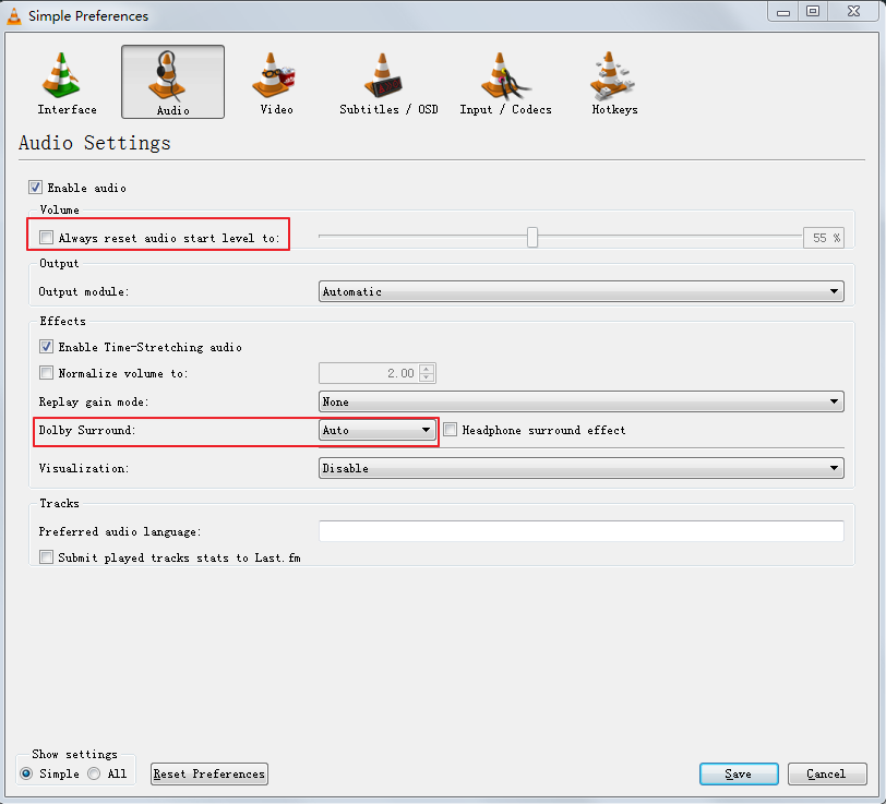 flv to vlc audio setting