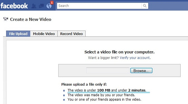 upload video to facebook