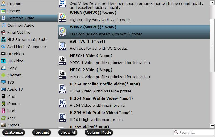 Output WMV2(WMV8) file