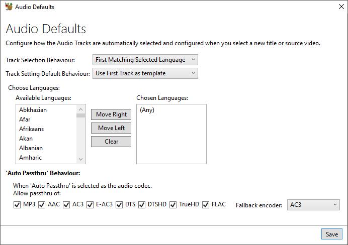 audio default