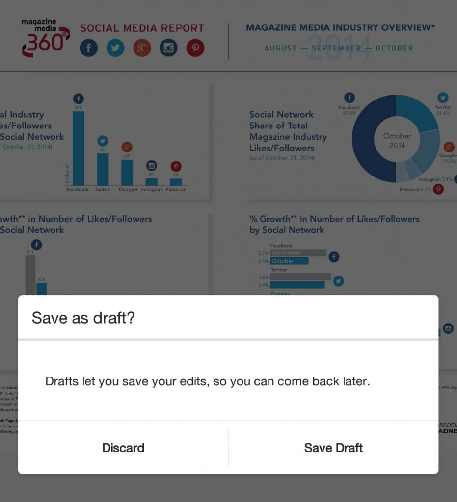 Save draftsso you can post later