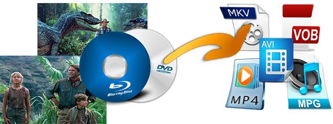 Backup Jurassic Park (3D Blu-ray+Blu-ray+DVD) to M2TS, MP4, AVI, MKV, VOB, M4V, MPG