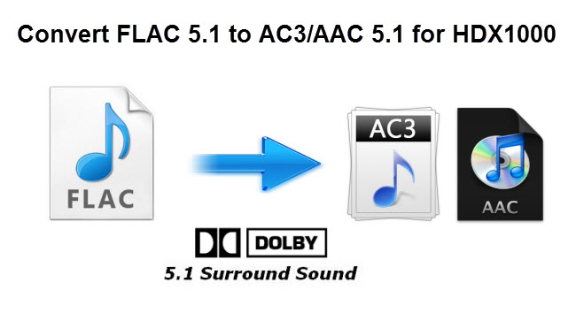 Convert FLAC 5.1 audio MKV to HDX 1000 with AC3/AAC 5.1 audio