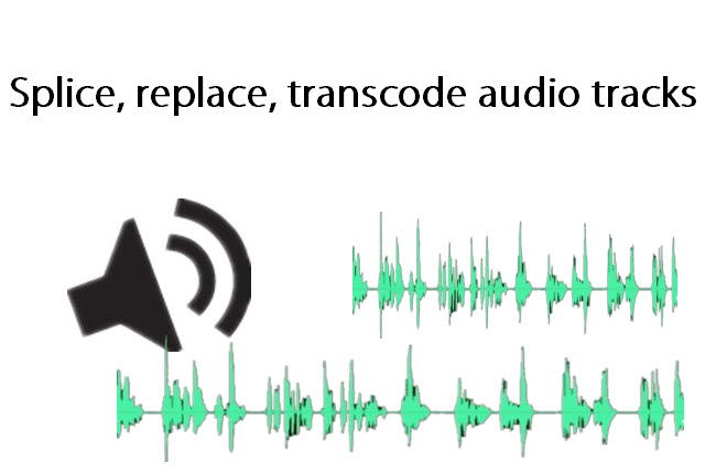 Splice/replace/transcode audio for projector, iPhone 6/iPad