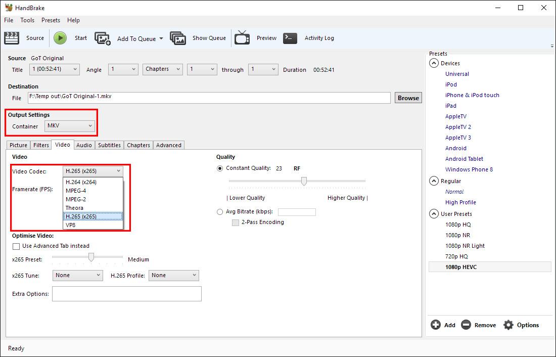 Best Handbrake Settings for Encoding H.265/HEVC